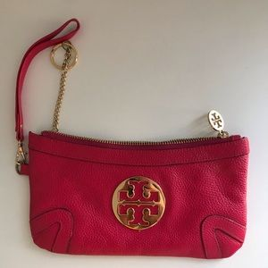 Tory Burch pink leather wristlet